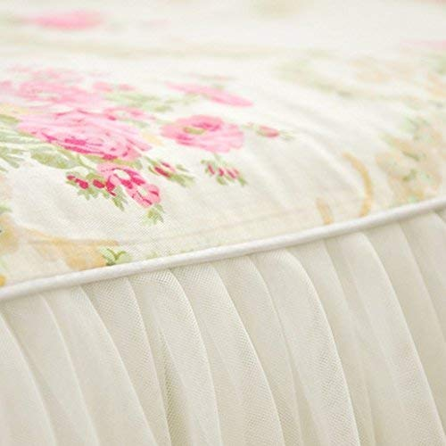 LELVA Beautiful Lace Ruffle Twin XL Bed Skirt Romantic Girls Bed Sheets Skirted Sheet