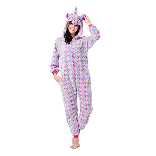 RONGTAI Adults Unisex Animal Flannel Unicorn Onesie Pajamas Cosplay Costume(XL, Purple Star Unicorn) -