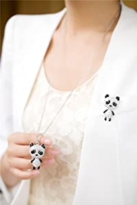 Neoglory Jewelry Platinum Plated Long Panda Pendant Necklace Fully Studded with Rhinestones 30""