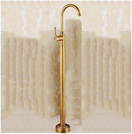 アンティークの真鍮製の自立浴槽の蛇口と温水と冷水滑らかなシングルハンドルバスシャワーミキサーフロアマウントタップ