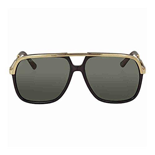 Gucci GG0200S 001 Black / Gold GG0200S Square Aviator Sunglasses Lens - Sunglasses Gucci Gold