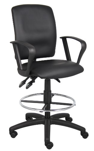 Loop Arm Drafting Stool - Boss Office Products B1647 Multi-Function LeatherPlus Drafting Stool with Loop Arms in Black