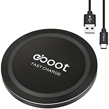 eBoot Fast Wireless Charging Pad, Type-C Wireless Charger for iPhone X, iPhone 8, iPhone 8 Plus, Galaxy Note 8/ S8/ S8 Plus/ S7/ S7 Edge/ S6 Edge+/ Note 5 and Other Qi Devices, Smart Lighting Sensor