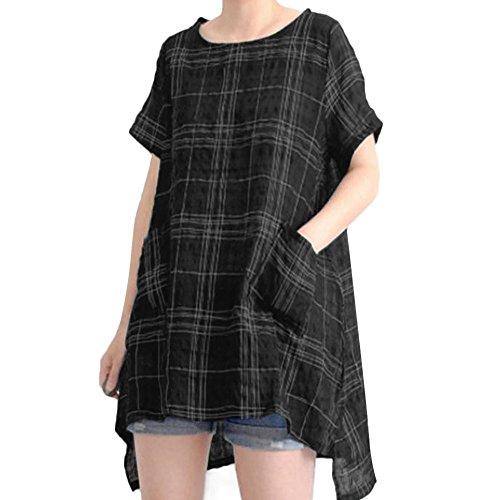 Women Plus Size T-Shirt,LuluZanm Sales! Ladies Vintage Casual Loose Cotton Linen Blouse Short Sleeve Plaid Tops Black