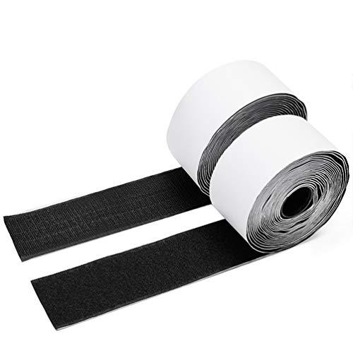 Charlux Self Adhesive Black Hook and Loop Tape Roll 2 inch Wide 5.4 Yards(5 meters/16.4 feet) Long Heavy Duty Sticky Back Fastener