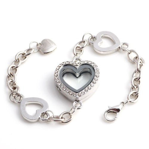 Promsup Silver Heart Full Crystal Living Memory Locket Floating Charms Bracelet Magnetic