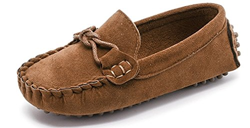 KVbaby Kids Boys' Suede Leather Loafer Flat Shoes Casual Slip on Toddler Soft Shoes Boat Dress Shoes Size