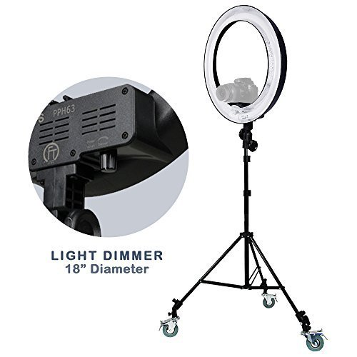 Julius Studio Dimmable 18'' Ring Light 5500K Fluorescent Light Camera Photo/Video Lighting Diffuser Stand Caster Wheels Kit, JSAG151 by Julius Studio