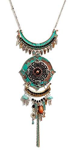 Mixed Metal Pendant - DaisyJewel Vintage Mixed Metal Art Large Pendant Necklace
