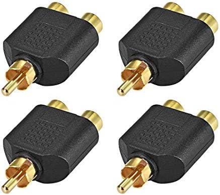 uxcell RCAオス-2 RCAメスコネクタ ステレオオーディオビデオケーブルアダプタースプリッター ブラック 4個