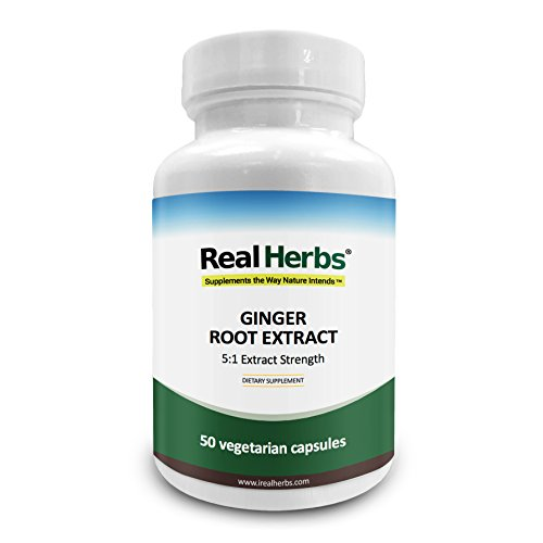 Ginger Root Herbs - Real Herbs Ginger Root Extract - Derived from 3500mg of Ginger Root with 5:1 Extract Strength - Reduces Nausea & Gastric Discomfort, Anti-Inflammatory – 50 Vegetarian Capsules