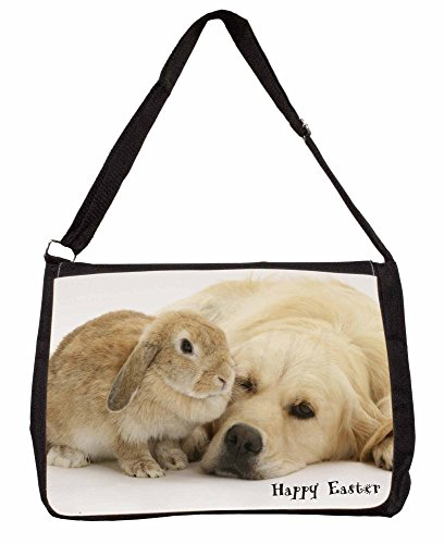 Rabbit with Goldie Happy Easter Large 16 Black School Laptop Shoulder Bag lMotqT