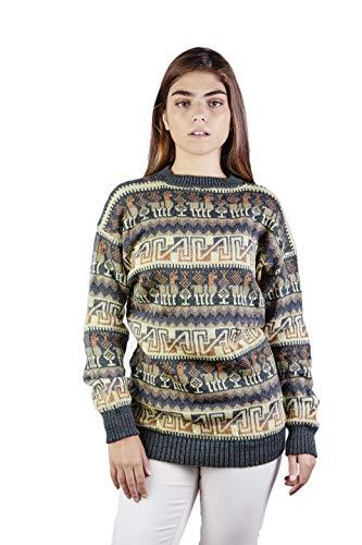 Raymis Peruvian Women´s Hand Knit Alpaca Llama Sweater (Green, Large)