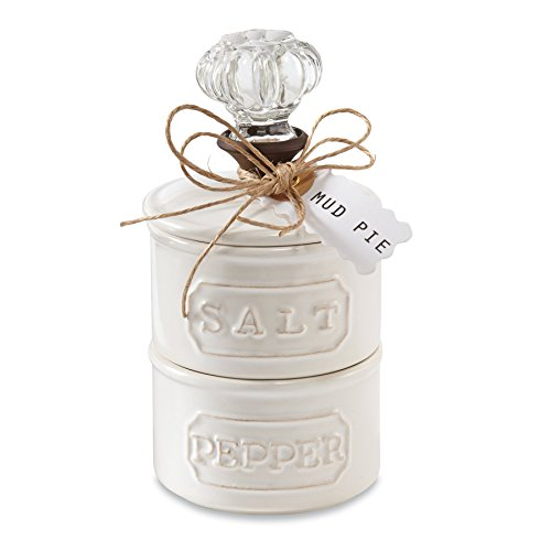 Mud Pie Door Knob Salt Cellar Set, White