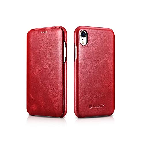 - iPhone XR Case,HuiFlying ICARER Vintage Classic Series[Genuine Leather][Curved Edge][Full Screen] Ultra Slim Side Open Folio Flip Full Body Protective Case for Apple iPhone XR 6.1 inch (2018),Red
