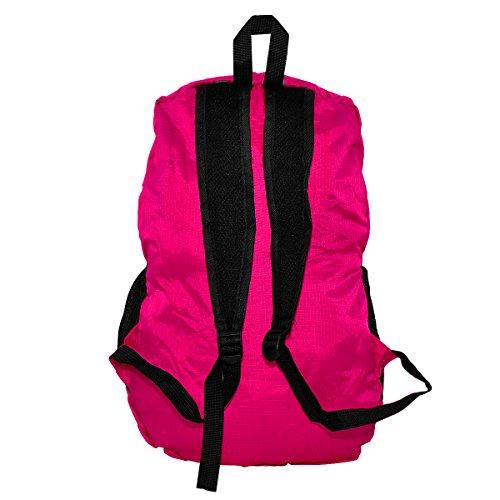 Mochila Plegable Mochila de Hombro Backpack Bolsas de Hombro Bolso Bandolera Ultra Ligera Mochila Deportiva para Al Aire Libre Viaje Ciclismo Senderismo Nailon Verde, by LC Prime Hot Pink