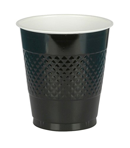 Amscan (AMSDD) Reusable   Plastic Cups Big Bundle Party Tableware, Black, 16oz., Pack of 50