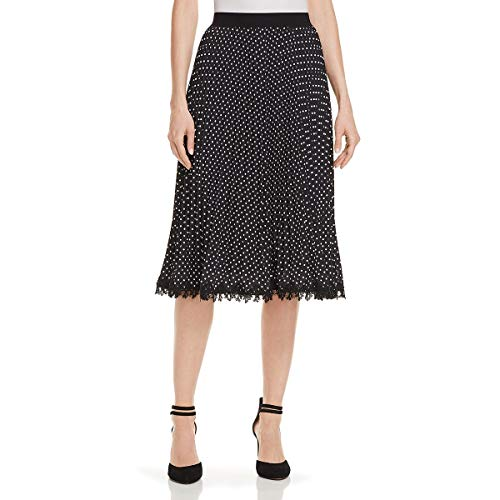 (Kobi Halperin Womens Lottie Embroidered Polka Dot A-Line Skirt B/W XL)