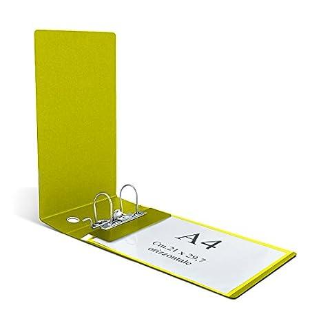 Clam - Archivador para sobres horizontales y folios UNI A4 con lomo de 8 cm y mecanismo de palanca, color amarillo: Amazon.es: Oficina y papelería