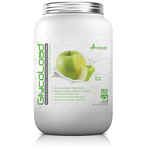 Metabolic Nutrition, Glycoload, 100% Micronized Cyclic Cluster Dextrin Carbohydrate Powder, Muscle Glycogen Loading Carbohydrate, Pre Intra Post Workout Supplement, Green Apple, 1200 gm (60 ser)