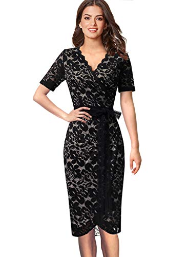 VFSHOW Womens Black Elegant V Neck Floral Lace Cocktail Party Bodycon Sheath Wrap Dress 2671 BLK L