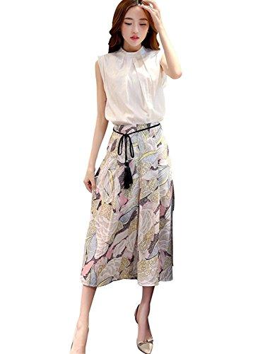 G-raphy レディース チュニック 綿麻ブラウス シフォンスカート セット ホワイト 膝丈 韓国スタイル