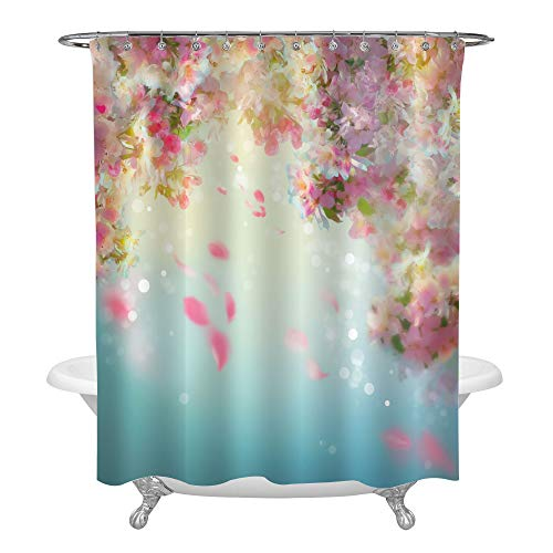MitoVilla Spring Cherry Blossom with Falling Petals Shower Curtain, Sakura Flying Downwind Petals on Wind Bathroom Decor for Girl and Women, Pink, 72 x 72 inches for Bathtub