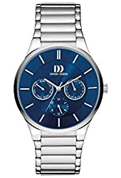 Danish Design Men's Grey Steel Bracelet & Case Quartz Blue Dial Analog Watch IQ68Q1110