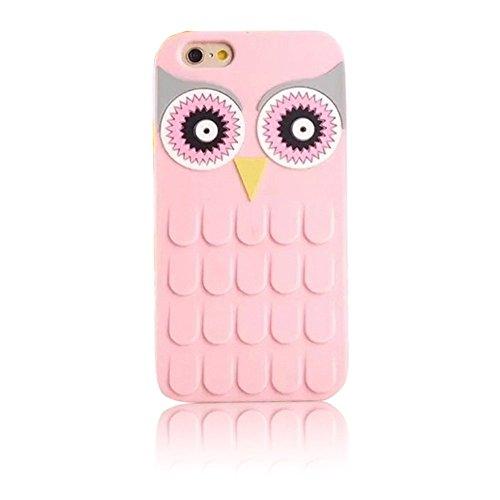 Vandot Kickstand Silicona Case para iPhone 6 Plus/6s Plus Funda Orejas de Cristal Precioso Encantadora de Dibujos Animados Bling Caja Suave Carcasa del Silicón del Gel Caso Flexible y Transparente con Owl Rosa