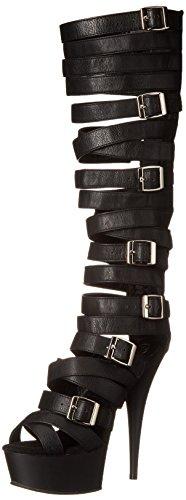 Vestir Sandalias Blk Faux Leather 600 Pleaser blk Para Delight Matte 41 De Mujer qH1f6X