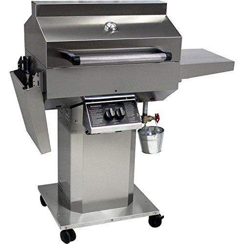 Phoenix - Stainless Steel Riveted Grill Head Mounted on a stainless steel 3pc column cart w/drop down shelves - Liquid Propane by Phoenix