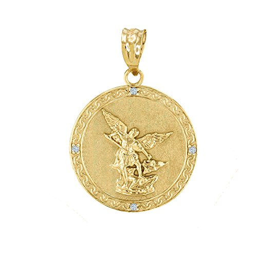 - 14k Yellow Gold Saint Michael The Archangel Diamond Medal Pendant (1