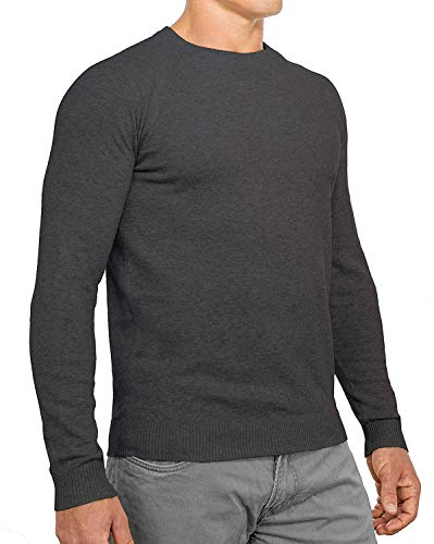 Comfortably Collared Men's Perfect Slim Fit Lightweight Soft Fitted Crew Neck Pullover Sweater, Large, Charcoal ()