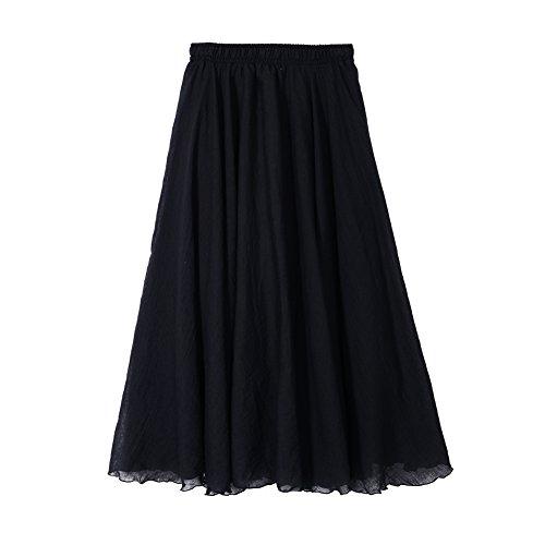 (Women Ankle Length Swing Skirt 37.4inch Cotton Linen Flowing Long Skirt Elastic Waist Boho Summer Autumn (Black))