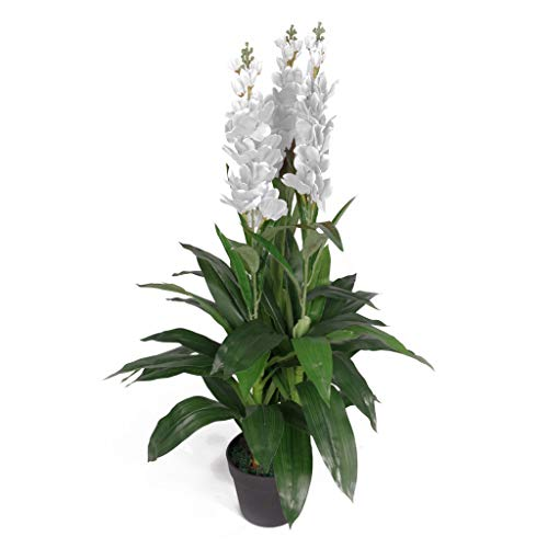 Potted Cymbidium - Leaf 3ft 2ins Artificial Cymbidium Orchid Plant - Extra Large Potted in Black Plastic Pot Design UK, White Flowers