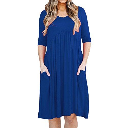 Eiffel Women's 3/4 Sleeve Draped A-line Loose Casual Swing Dress With Pockets Blue