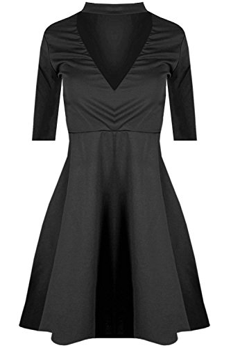 Black Neck Dress XL Swing S New Choker Skater High V Pickle Plunge Flared Womens Chocolate f6YwqBxYp