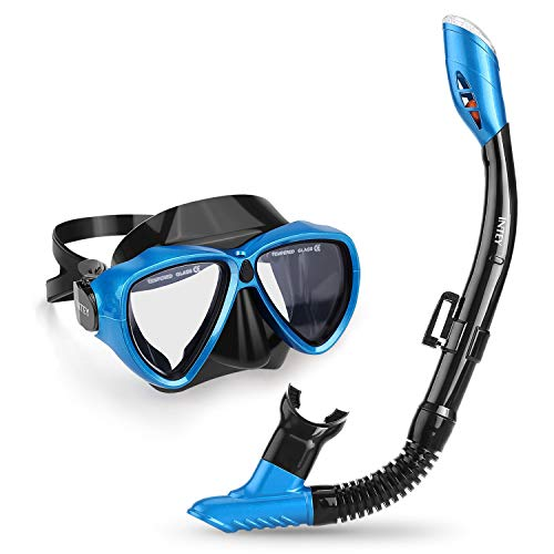 INTEY Snorkel Set - Snorkel Mask with Anti-Fog Panoramic Tempered Glass and Purge Valve, Anti-Leak Dry Top Snorkel, Professional Snorkeling Mask for Adults Youth