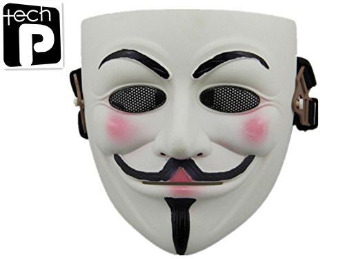 Tech-p V for Vendetta Mask Full Face Airsoft Mask CS WarGame Protective Mask Gear Halloween Mask-white