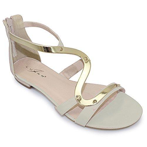 Sapphire - Sandalias de Correas Estilo Gladiador con Tacón Pequeño para Dama - Adecuadas para el Verano Blanco