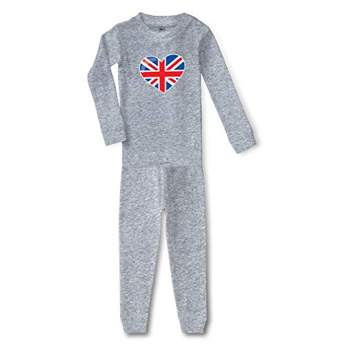 London Doll British Flag Cotton Crewneck Boys-Girls Infant Long Sleeve Sleepwear Pajama 2 Pcs Set Top and Pant - Oxford Gray, 2T (Pajamas British)