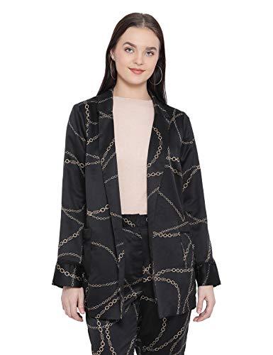 oxolloxo Women's Long Sleeve Graphic Blazer (Black)