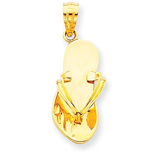 14k Number Flip Flop Pendant (Diamond2Deal 14k Yellow Gold Flip Flop Pendant)