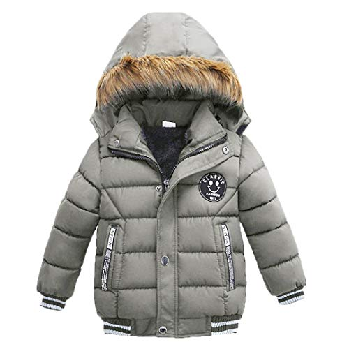 MODNTOGA Toddler Baby Boys Autumn Winter Down Jacket Coat Warm Padded Thick Outerwear Clothes Snowsuit Fleece (Gray, XL(2-3 Years)... (Best Lightweight Warm Clothing)