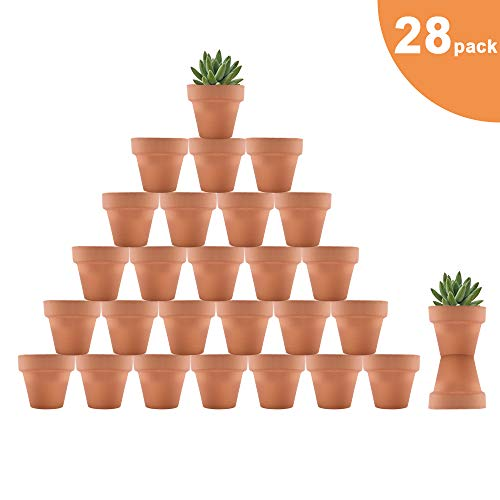 Riseuvo 28pcs Small Mini Clay Pots, 2'' Terracotta Pot Clay Ceramic Pottery Planter, Cactus Flower Terra Cotta Pots, Succulent Nursery Pots, with Drainage Hole, for Indoor/Outdoor Plants, Crafts]()