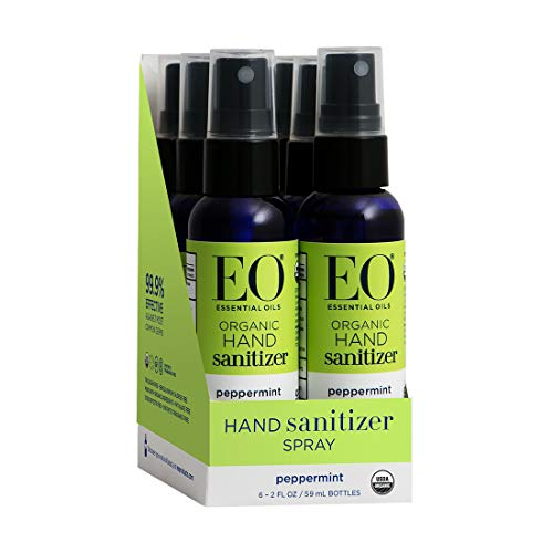 EO Hand Sanitizer Spray, Organic Peppermint, 2 Ounce (Pack of 6)