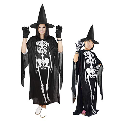 Kids Adults Ghost Costume Suit Skeleton Cloak Gloves Witch Hat Set Fancy Dress Up Party Halloween Costumes Cosplay Outfit