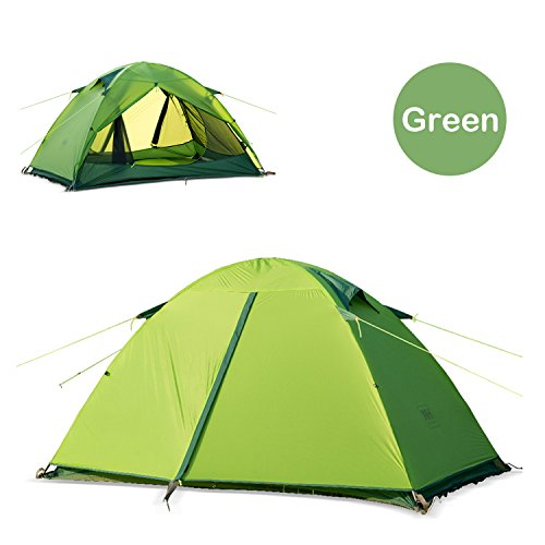 Topnaca 2 Person 3 Season Double Layer Ultralight Backpacking Tent, Silicone Coating Fabric Waterproof PU 10000mm Aluminum Rod Anti-UV Windproof, for Outdoor, Camping, Hiking, Travel (Green)