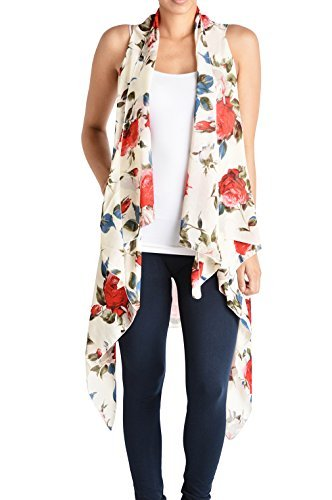 Triple9shop Women's Open Asymmetrical Hem Vest Cardigan (One Size, Rose - Beige)