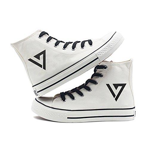 Fanstown Kpop Sneakers Canvas Shoes Womens Size Bianco Fanshion Memeber Hiphop Style Fan Support Con Lomo Card Diciassette